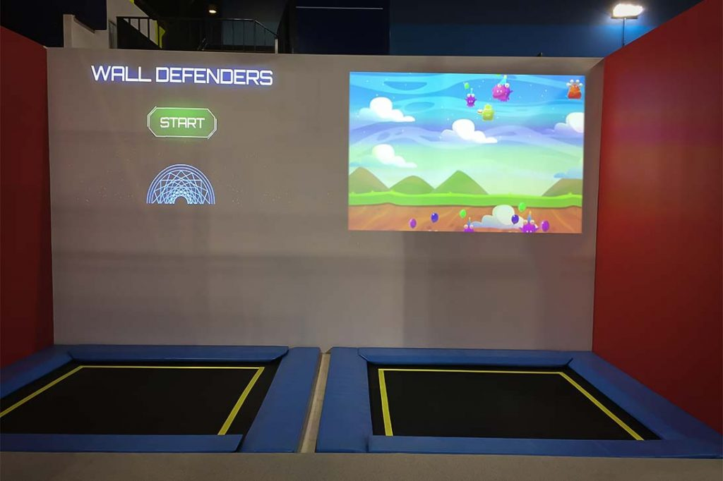 interactive games played on trampolines
